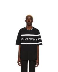 schwarzes und weißes horizontal gestreiftes T-Shirt mit einem Rundhalsausschnitt von Givenchy