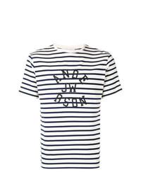 schwarzes und weißes horizontal gestreiftes T-Shirt mit einem Rundhalsausschnitt von JW Anderson