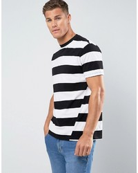 schwarzes und weißes horizontal gestreiftes T-Shirt mit einem Rundhalsausschnitt von Mango