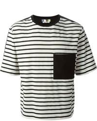 schwarzes und weißes horizontal gestreiftes T-Shirt mit einem Rundhalsausschnitt von MSGM