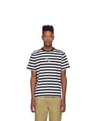 schwarzes und weißes horizontal gestreiftes T-Shirt mit einem Rundhalsausschnitt von Noah NYC