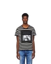 schwarzes und weißes horizontal gestreiftes T-Shirt mit einem Rundhalsausschnitt von R13
