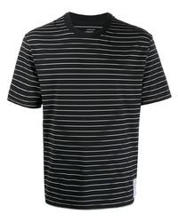 schwarzes und weißes horizontal gestreiftes T-Shirt mit einem Rundhalsausschnitt von Satisfy