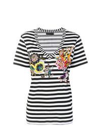 schwarzes und weißes horizontal gestreiftes T-Shirt mit einem V-Ausschnitt von Etro