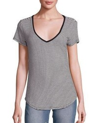 Schwarzes und weißes horizontal gestreiftes T-Shirt mit V-Ausschnitt von Paige