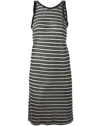 schwarzes und weißes horizontal gestreiftes Trägerkleid von Alexander Wang