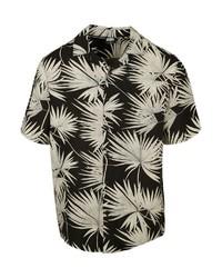 schwarzes und weißes Kurzarmhemd mit Blumenmuster von Urban Classics