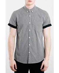 schwarzes und weißes Kurzarmhemd mit Vichy-Muster