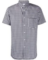 schwarzes und weißes Kurzarmhemd mit Vichy-Muster von Comme Des Garcons SHIRT