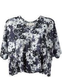 schwarzes und weißes kurzes Oberteil mit Blumenmuster von Stella McCartney
