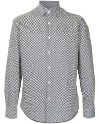 schwarzes und weißes Langarmhemd mit geometrischem Muster von Salvatore Ferragamo
