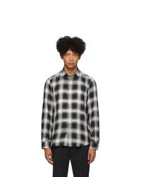 schwarzes und weißes Langarmhemd mit Karomuster von Diesel