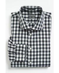 Schwarzes und weißes Langarmhemd mit Vichy-Muster