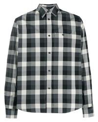 schwarzes und weißes Langarmhemd mit Vichy-Muster von Kenzo