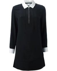 schwarzes und weißes Shirtkleid von Victoria Beckham