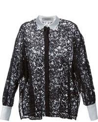 schwarzes und weißes Spitze Businesshemd von Valentino