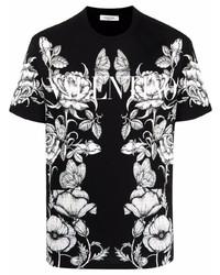 schwarzes und weißes T-Shirt mit einem Rundhalsausschnitt mit Blumenmuster von Valentino