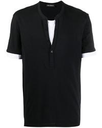 schwarzes und weißes T-shirt mit einer Knopfleiste von Neil Barrett