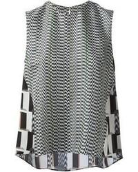 schwarzes und weißes Trägershirt mit geometrischem Muster von Kenzo