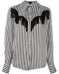 schwarzes und weißes vertikal gestreiftes Businesshemd von Marc Jacobs