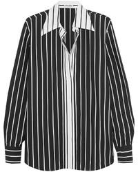 schwarzes und weißes vertikal gestreiftes Businesshemd von Miu Miu