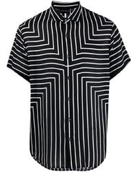 schwarzes und weißes vertikal gestreiftes Kurzarmhemd von Emporio Armani