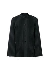schwarzes und weißes vertikal gestreiftes Langarmhemd