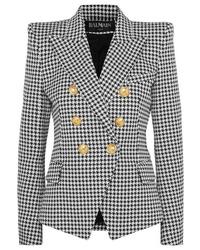 schwarzes und weißes Zweireiher-Sakko mit Hahnentritt-Muster von Balmain