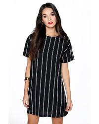 schwarzes vertikal gestreiftes gerade geschnittenes Kleid