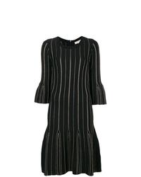 schwarzes vertikal gestreiftes gerade geschnittenes Kleid von MICHAEL Michael Kors