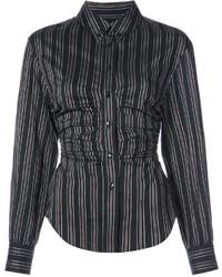 schwarzes vertikal gestreiftes Hemd von Isabel Marant