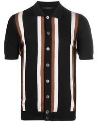 schwarzes vertikal gestreiftes Kurzarmhemd von Tagliatore