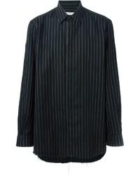 schwarzes vertikal gestreiftes Langarmhemd