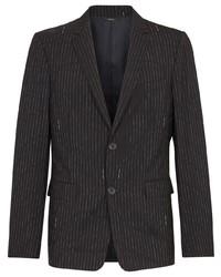 schwarzes vertikal gestreiftes Wollsakko von Fendi