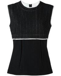 schwarzes vertikal gestreiftes Wollträgershirt von DKNY