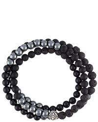 schwarzes verziert mit Perlen Armband