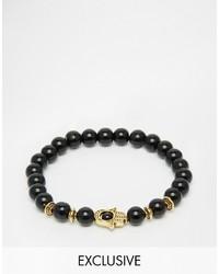 schwarzes Perlen Armband von Reclaimed Vintage