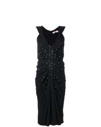 schwarzes verziertes Etuikleid von Christian Dior Vintage