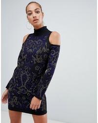 schwarzes verziertes figurbetontes Kleid von Forever Unique