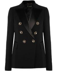 schwarzes verziertes Satinsakko von Versace