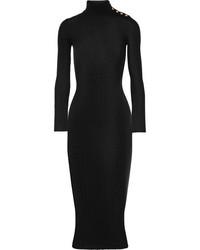 schwarzes verziertes Sweatkleid von Balmain
