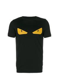 schwarzes verziertes T-Shirt mit einem Rundhalsausschnitt von Fendi