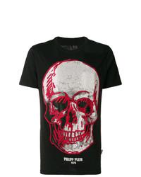 schwarzes verziertes T-Shirt mit einem Rundhalsausschnitt von Philipp Plein