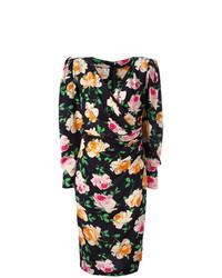 schwarzes Wickelkleid mit Blumenmuster von Emanuel Ungaro Vintage