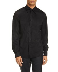 schwarzes Wildlederlangarmhemd