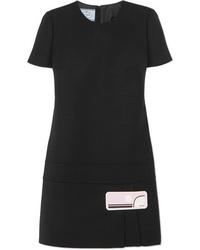 schwarzes Wollgerade geschnittenes kleid von Prada