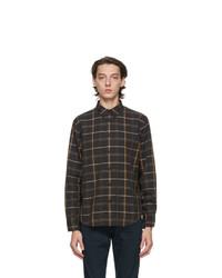 schwarzes Wolllangarmhemd mit Schottenmuster