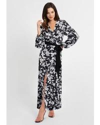 schwarzes Wollmaxikleid mit Blumenmuster von Apart