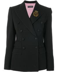 schwarzes Wollzweireiher-sakko von Dolce & Gabbana