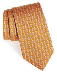 senf bedruckte Krawatte